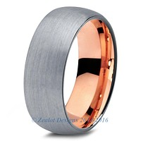 Rose Gold Chromacolor Silver Dome Tungsten Ring