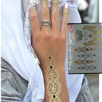 body art painting tattoo stickers glitter Metal gold silver temporary flash tattoo Disposable indians tattoos tatoo = 5660907137