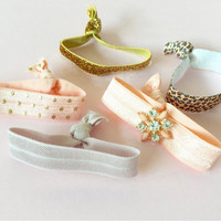 Bling Jeweled Embellished Hair Ties Set of 5 in Taupe, Peach, Peach and Gold Polka Dots, Leopard Print and Gold Glitter