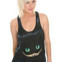 Disney Alice In Wonderland The Cheshire Cat Tank From Hot Topic Size Large