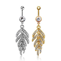 New Charming Dangle Crystal Navel Belly Ring Bling Barbell Button Ring Piercing Body Jewelry = 4661635588