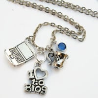 Peronalized Blogger Necklace, I Love to Blog Birthstone Necklace, Author, Laptop Necklace, Social Media Charm Jewelry,  Choose Length