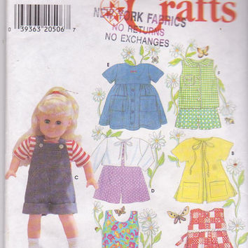 """Elaine Heigl pattern for American Girl/18"""" summer doll clothes dress romper swimsuit shorts top coverup Simplicity 7688 CUT and COMPLETE"""
