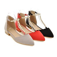 Women Sandals with Pearl T Straps Pointed Toe Shoes Woman