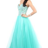 strapless corset style long prom dress with chunky stone accents