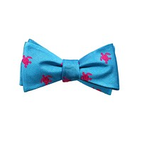 Turtle Bow Tie - Pink on Blue, Woven Silk-COPY