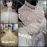 Mermaid High Neck Luxuriously Beaded Crystal Wedding Dress
