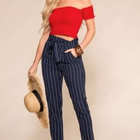 Hyde Navy and White Striped Paperbag Pants