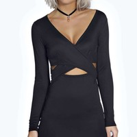 Sophie Wrap Front Long Sleeve Bodycon Dress