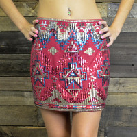 Electric Sounds Burgundy Aztec Sequined Pencil Skirt
