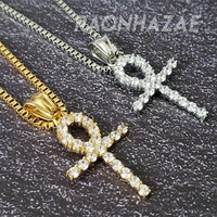 "316L Stainless Steel Gold Silver Ankh Cross Charm w/ 2mm 24"" Box Chain GM08"