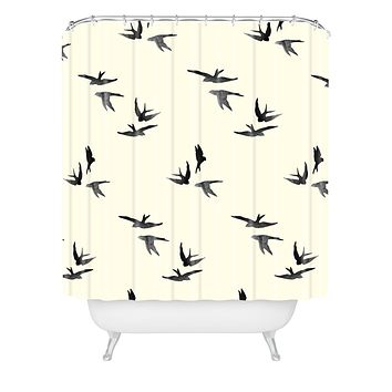 Morgan Kendall black birds Shower Curtain
