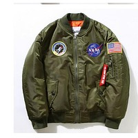 New Flight Pilot Jacket Men Bomber Ma1 Men Bomber Jacket Nasa Air Force Embroidery Baseball Military Thin Section Jacket S -XXL