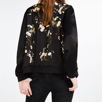 FLORAL EMBROIDERED BOMBER JACKET - OUTERWEAR-WOMAN | ZARA United States
