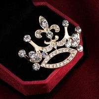 Fashion white pointed toe brooch cravat exquisite gift brooch Imperial crown Charms Full Crystal Jewelry wedding party
