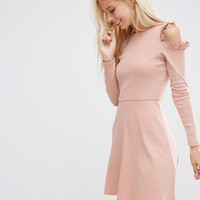 ASOS Skater Dress With Frill Detail and Cut Out Shoulder at asos.com
