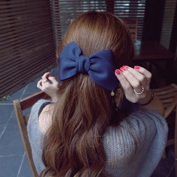 Big Solid Cloth Bow Hair Clips Hairpins Hair Accessories FREE SHIPPING
