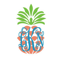 "Pineapple Monogram Preppy Car Decal 5"" Vinyl Sticker"
