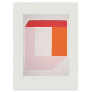 small colourblock geometric modernist screenprint, original and handmade in vibrant colours of red, orange and pink
