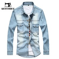 Vintage Jeans Denim Shirt Long Sleeve Men's Shirt Autumn Slim Fit Denim Shirt Men Casual Denim Blouses Men