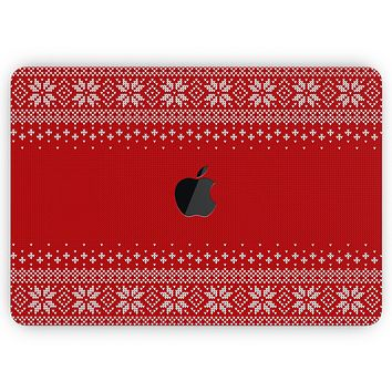 """Knitted Ugly Christmas Sweater V4 - Skin Decal Wrap Kit Compatible with the Apple MacBook Pro, Pro with Touch Bar or Air (11"""", 12"""", 13"""", 15"""" & 16"""" - All Versions Available)"""