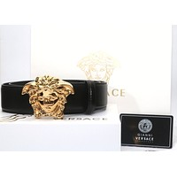 "NIB VERSACE Gold Metal 3D MEDUSA Buckle Black Palazzo Leather Belt Sz 34""-38"""