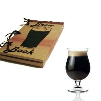 Brew Book Notebook - Brew Logs Journal Wood Burnt - Custom Cover Work