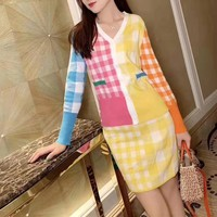 Fashion Multicolor Tartan Knit Dress V-neck Sleeve Buttons Cardigan Sweater Coat Set Two-Piece
