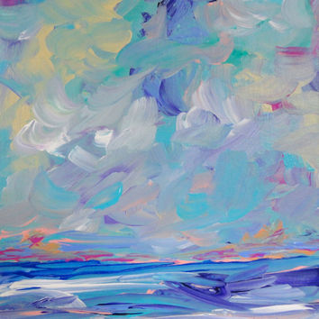 Original Seascape Blue Purple Painting 8x10 Canvas Acrylic Artwork Contemporary Small Art
