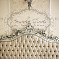 NEW ITEM / 6ft x 5ft REVERSIBLE Vinyl Backdrop / Double sided / White Tufted Headboard
