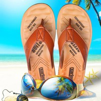 Men Summer Korean Fashion Anti-skid Leather Slippers [11626603727]