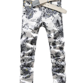 Men Stylish Strong Character White Print Slim Fashion Korean Pants [6541763395]