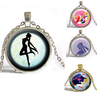 Anime Sailor Moon Pendant Necklace Photo space glass necklace Star Moon christmas gift for Children long necklace
