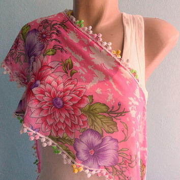 Pink Scarf Floral Summer Women Scarf in Pink Green Red Purple