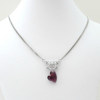 Amethyst heart crystal chainmaille necklace