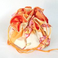 Jewelry Drawstring  Travel Bag, Pouch,  Amy Butler Water Lily in Clay Medium