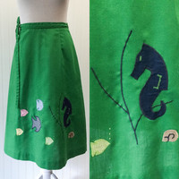 Zoe skirt // 1970s green wrap boho nautical embroidered applique wrap skirt // seahorse fish coral // size XS to S