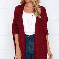 Cup of Cozy Wine Red Cardigan Sweater