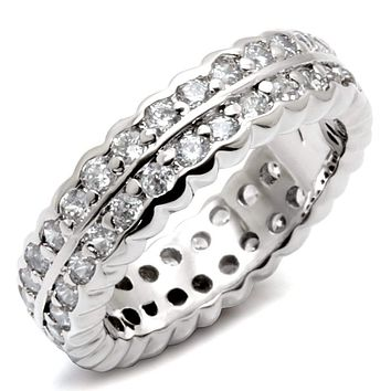 925 Sterling Silver Rings LOS496 Rhodium 925 Sterling Silver Ring with CZ