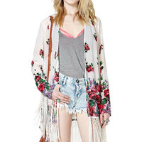 Print Long Sleeve Tassels Jacket Rashguard [5013131716]