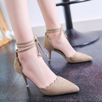 Pure Color Pointed Toe Lace Ankle Wrap Stiletto High Heels Party Shoes