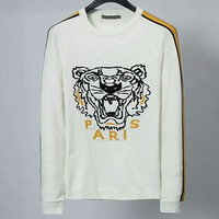 KENZO 2018 new embroidered knit tiger head men's round neck long-sleeved sweater White
