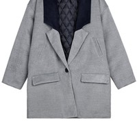 Color Block Collar One-button Coat