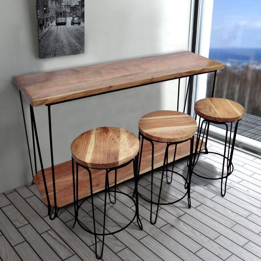 Image of Rectangular Bar Dining Table With 3 Round Stools, Pack Of 4, Brown and Black By The Urban Port