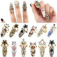 1PC Stylish Exquisite Ring Jewelry Exquisite Diamond Nail Cover Tail Ring Joint Ring Crown Armor Accessories Crystal Fake Nail