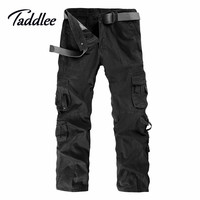 Men Outdoor Cotton Combat Multi-Pockets Khaki Casual Loose Long Full Length Cargo Pants Mens Work Trousers Camouflage Large Size