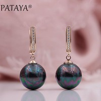 PATAYA New Trendy Multicolor Faux Shell Pearls Round Natural Zircon Long Drop Earrings Women Wedding Party Luxury Jewelry Gift