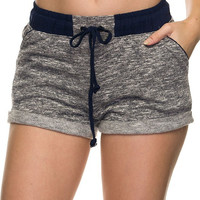 French Terry Jogger Shorts - Navy