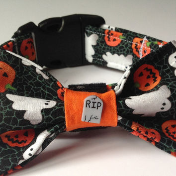 Halloween Ghostly Bow Tie Collar for Male Dogs and Cats