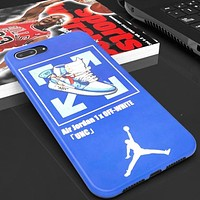 Jordan & Off White New fashion people letter arrow shoes print couple protective cover phone case Blue